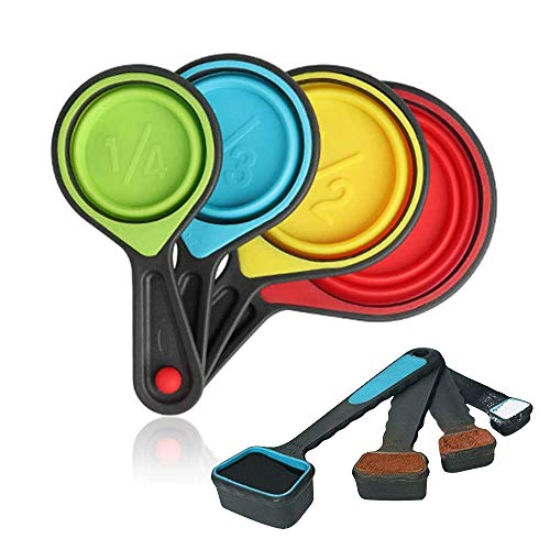Collapsible Measuring Cups and Spoons - Portable Food Grade Silicone for Liquid & Dry Measuring, 8 piece set kitchen measuring tool