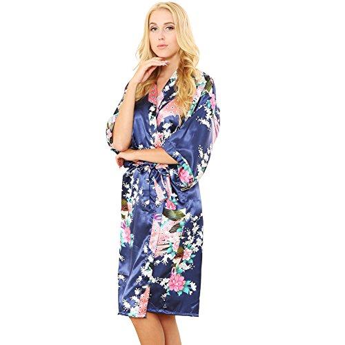 Mr & Mrs Right Damen Bademantel Pfau und Blüten Kimono Satin Nachtwäsche lang - blau - X-Large