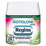 Rotoloni Regina Eco Carta Igienica | Confezione da 28 Rotoli a 2 veli | 500 strappi per rotolo | Bianca e Decorata | Packaging in Carta Riciclabile | Carta 100% certificata FSC