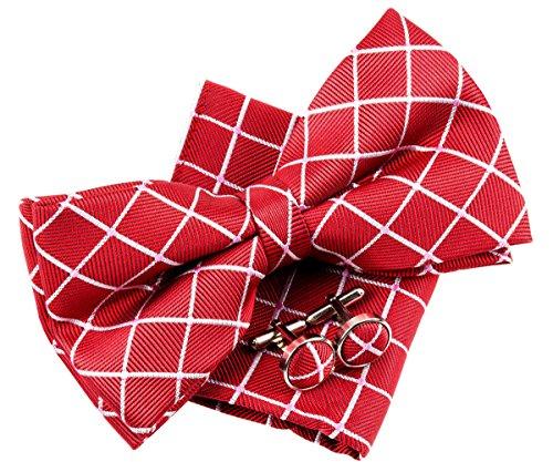 Retreez Herren Gewebte vorgebundene Fliege Punkten und Karo 13 cm und Einstecktuch und Manschettenknöpfe im Set, Geschenkset, Weihnachtsgeschenke - rot