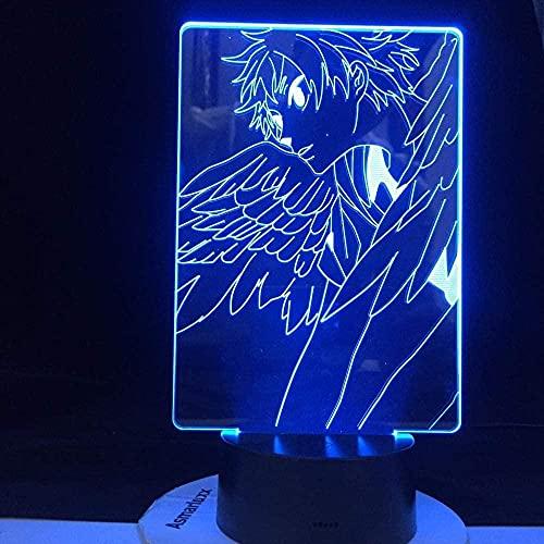 3D anime ilusión lámpara LED noche luz hinata-aletas lámpara de mesa anime haikyuu niños cabecera diseño oficina cabecera día día de fiesta regalos de cumpleaños