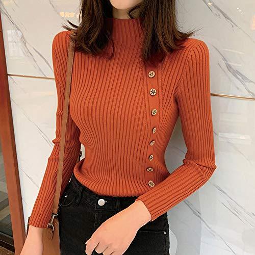 Moda Sudaderas Jersey Sweater Suéter Mujer Casual Manga Larga Medio Cuello Alto Elegante Slim Fit Color Sólido Jersey Mujer Cuello Alto OneSize 08