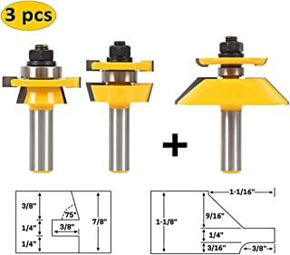 LETBE 3 PCS Router Bit Set, 1/2-Inch Shank Round Over Raised Panel Cabinet Door Rail and Stile Router Bits, Woodworking Wood Cutter, Wood Carbide Groove Tongue Milling Tool (1/2, HXRD-D32B)
