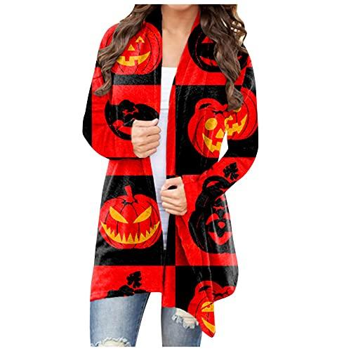 Abrigo de Halloween para mujer, de Calabaza y Fantasma, Camisas Largas de Peso Ligero Divertido Chaqueta Estampado Frente Abierto Sueltas Casual Blusas, Rojo_5, M