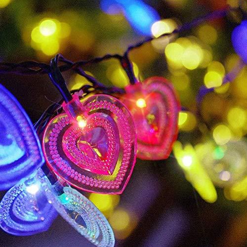 Cadena de luz solar en forma de corazón Love 20LED Línea de luz impermeable al aire libre Navidad Día de San Valentín Decoración de parque Cadena de luz