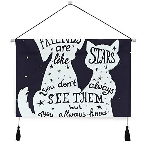 HATESAH Dekorative Wandbild Stoff Poster Hängendes Plakat,Freunde sind wie Sterne Zitat mit Silhouette von Haustieren auf Raum themenorientierter Hintergrund,Wandbild Stoff Poster Hängendes Plakat
