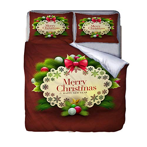 GenericBrands Duvet Cover Set 3 Piece Christmas card-240x220cm(94x87 inch) Quilt Duvet Cover with Zipper Closure 3 Pieces Hypoallergenic Soft Microfiber Bedding Set with 2 Pillowcases