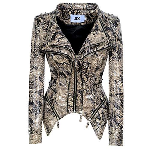 HAOXUAN Chaqueta de piel sintética para mujer tipo motociclista, suave, manga larga, delgada, para motociclista, con bolsillos, estilo 1, L