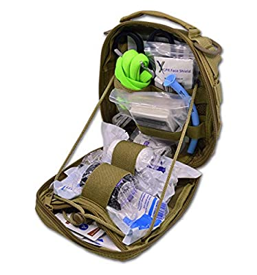 Lightning X Individual First Aid Trauma/Hemorrhage Control Kit in MOLLE IFAK Pouch Value Edition - TAN