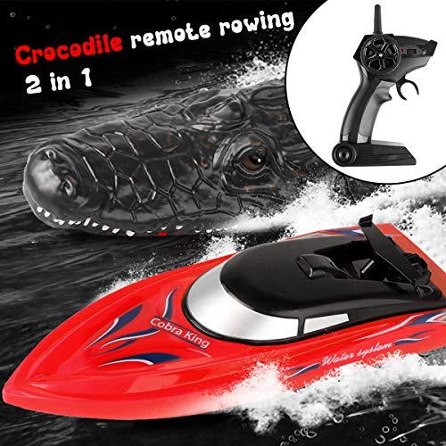 FancyWhoop 2,4 GHz Fernbedienungsboot Elektro-Rennboot RC-Boot mit RC Crocodile Head Wasser Schwimmende Parodie Spielzeug für Pool Pond Garden Patio Home Decoration, Kinder Geschenk Präsentieren