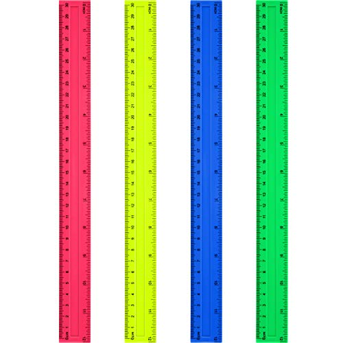 4 Packs Plastic Straight Rulers Plastic Rule Measuring Tool for Student School Office (12 Inch, Colorful)
