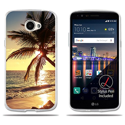 LG K5 / Q6 / X220ds Hülle, FUBAODA [Palm Beach] Transparent Silikon TPU Fashion Kreatives Design Anti-Scratch Smart Schutz Stilvolle Silikon Slim Fit Shockproof Flexibel für LG K5 / Q6 / X220ds