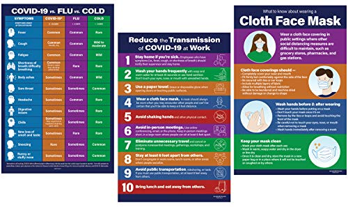 3 Poster Pack: COV - 19 Information Posters | Cov-19 Workplace Posters | Cov-19 Office Signs | Cov-19 Office Supplies | Social Distancing Office Signs | 12' x 18'
