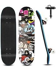 Cutemelo Skateboard pour Débutants, 80x20cm Skateboard Complet en Bois pour Enfants, Adolescents Adultes, 7 Couches de Bois D'érable Double Pont, Kick Cruiser Concave Trick Skateboard avec Outil en T