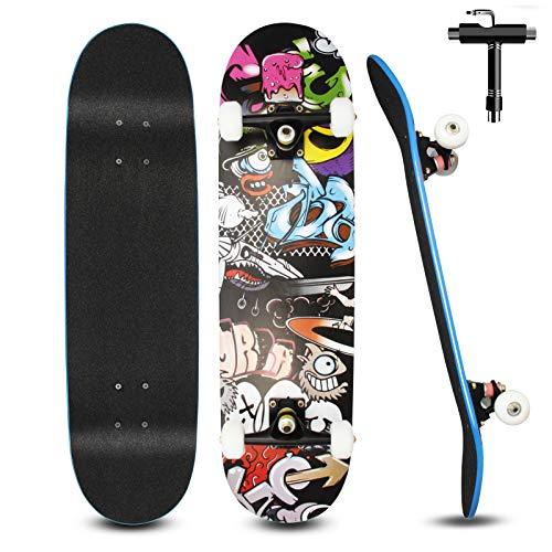 Skateboard pour Débutants, 80x20cm Skateboard Complet en Bois pour Enfants, Adolescents Adultes, 7 Couches de Bois D'érable Double Pont, Kick Cruiser Concave Trick Skateboard avec Outil en T (Noir)