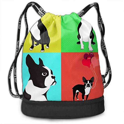 Petrichor Yi schattige honden boston terrier met ballon gym trekkoord sporttas eenvoudige Quick Dry bundel rugzak