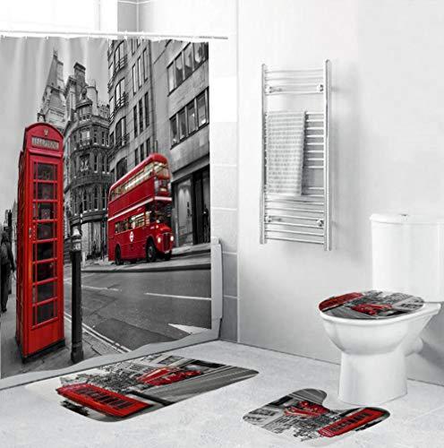 FGHJSF Juego de alfombras Cabina de teléfono roja Cortinas de Ducha Alfombrillas de baño Antideslizantes Impermeables Conjuntos de Accesorios de baño 4 Piezas para Tapa de Inodoro