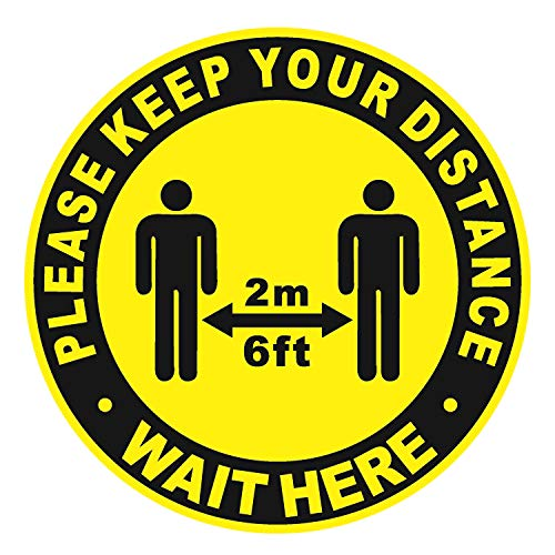 Social Distancing Floor Decal Stickers - Anti-Slip Safety Floor Sign Marker - Stand Here Keep 6ft in Between Distance - 11' Round(10 Pack)