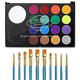 UCANBE Face Paint Kit + 10pcs Paint Brush...