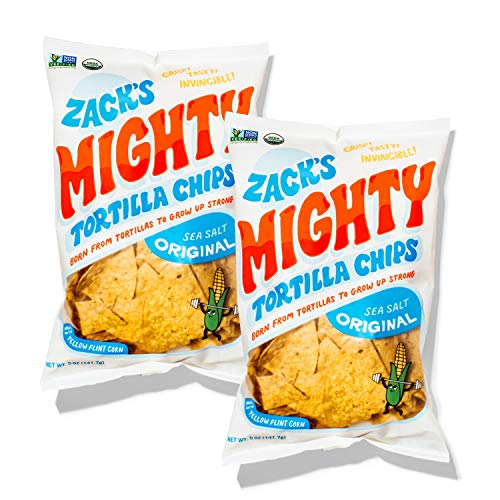 Zack's Mighty Organic Tortilla Chips, Non-GMO, Gluten-Free, Sturdy for Dipping, 2-Pack, 5 Ounces Each