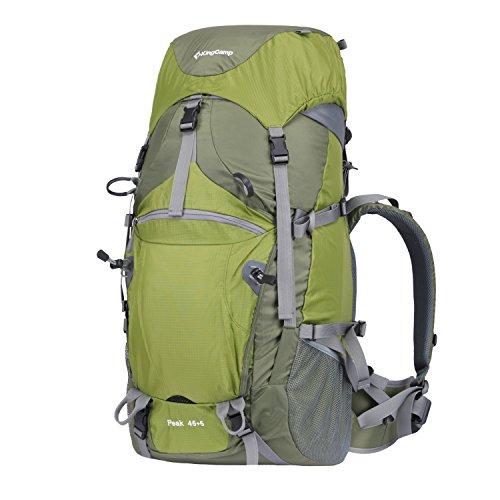 KingCamp 45L+5L Trekkingrucksäcke Wanderrucksäcke Reiserucksack für Camping Wandern und Bergsteigen Wasserdicht Ultraleicht 28 * 66 * 21CM Grün