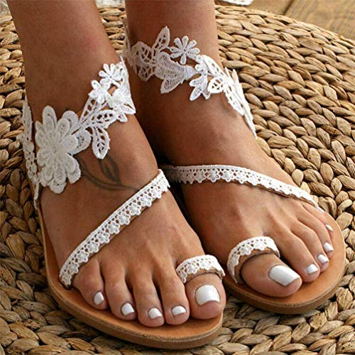 JSONA Summer Women Strap Sandals Women's Flats Open Toe Solid Casual Shoes Rome Wedges Thong Sandals Sexy Ladies Shoes,White,38