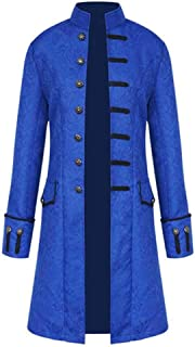 WUAI-Men Vintage Tailcoat Jackets Gothic Steampunk Victorian Frock Coat Halloween Costume Long Trench Coat