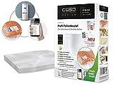 CASO Profi- Folienbeutel 20x30cm (1219) / 50 Beutel mit Etiketten für alle Balken Vakuumierer geeignet / Kochfest - Mikrowellen geeignet - Sous Vide geeignet / stabile Schweißnaht / Materialstärke ca. 160 µm / kostenlose Food-Manager App