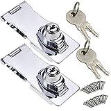 Material 後付けできる 引き出しロック 2個セット 掛金錠 鍵付き 留め具 ネジ留め ドア キャビネット