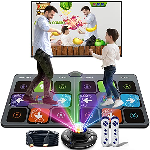 HAPHOM Dance Mat, Electronic Portable Dance Pad Double Game for Kids and Adults, Non-Slip Yoga Music Mat with HD Camera Disco Game Host for HDMI Interface TV (Gray)