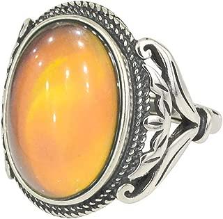 Burnished Sterling Silver Multi Color Change Oval Stone Mood Ring Size Adjustable