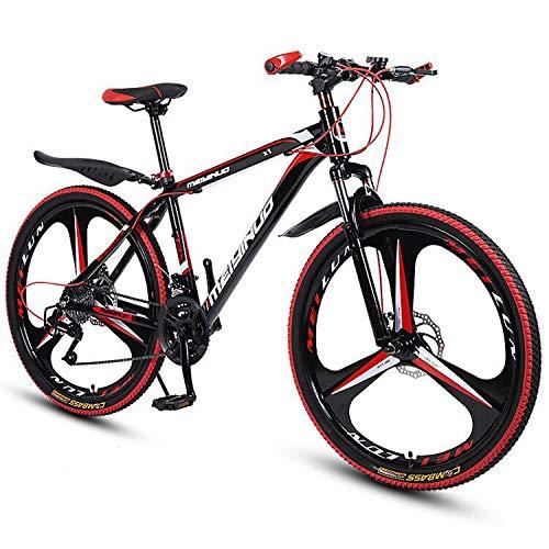 Bicicletas Montaña 26 Pulgadas, Mountain Bike, Bicicleta De Montaña Rígida De 21/24 27 Velocidades, Cuadro De Aluminio, Velocidad De Choque Bicicleta De Montaña, 3 Ruedas De Corte, Rojo,27 speed