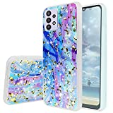 TJS Compatible with Samsung Galaxy A32 5G Case, with [Tempered Glass Screen Protector] Shiny Flake Glitter Back Skin Full Body Soft TPU Rubber Bumper Phone Case Cover (Colorful)