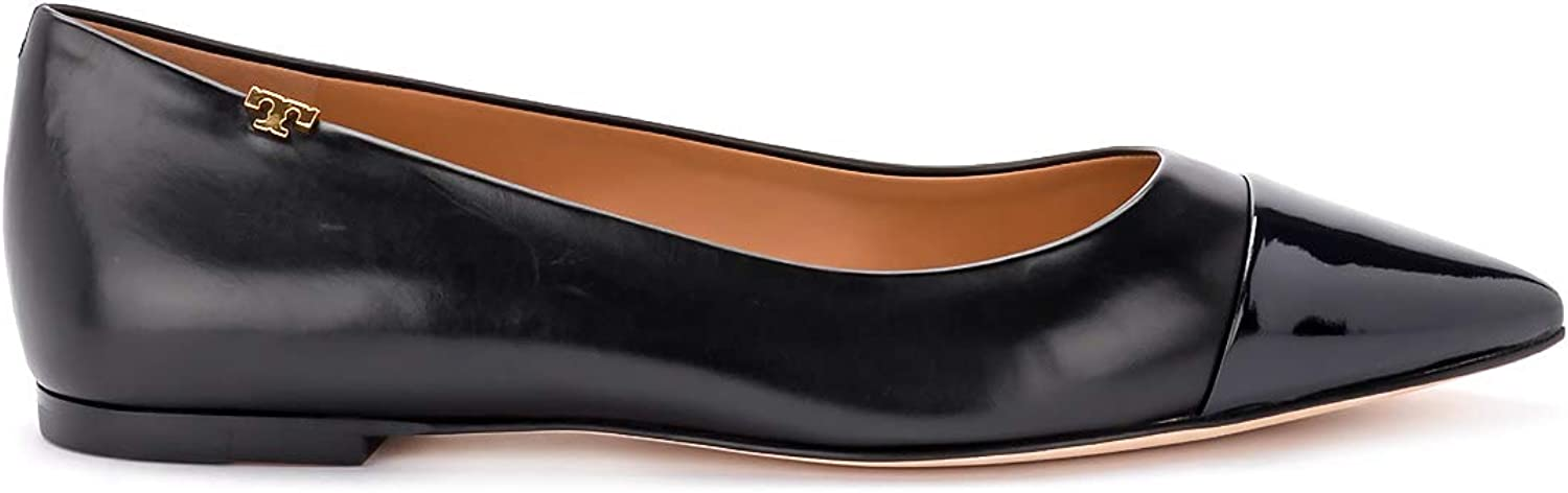 Tory Burch Woman's Penelope Black Nappa Flat shoes with bluee Toe