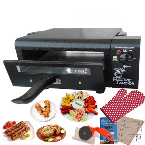HOTBERG Upper and Lower on/Off System Small Electric tandoor Pizza Maker Fish Chicken Tikka Naan Tandoori Roti Cake Baker French Fries Meat Barbecue Chaap Oil-free Fryer (Black)