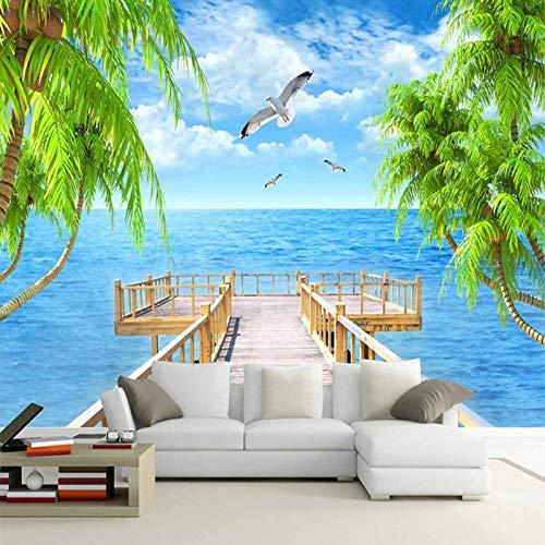 DZBHSCL Fotobehang, muur, moderne badkuip, houten brug, natuur, landschap, kunst, HD, groot formaat, fotopapier, voor posters, ontvangst, woonkamer, slaapkamer, wanddecoratie 64in×100in 160cm(H)×250cm(W)
