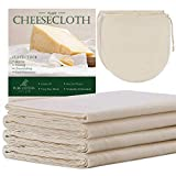 6 Yards Grade 90 Cheesecloth 54 Sq Feet + 2 Pack 12'x12' Cheese Bags, 100% Unbleached Cotton Fabric Ultra Fine Reusable Muslin Cloth for Straining, Cooking, Baking, Home
