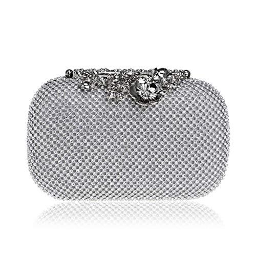 Bague pour femme avec strass, pochette en métal, pochette pour mariage, fête, sac à main, sac à main, sac à main, sac à main avec diamants - - Ym1224silver,