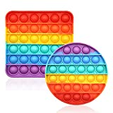 CENSUNG Rainbow Pop Bubble Fidget Sensory Toy Multicolor Push Popping Silicone Game Toy Anxiety & Stress Reliever Autism Learning Materials for Kids Children Adults (2-Pack Set)