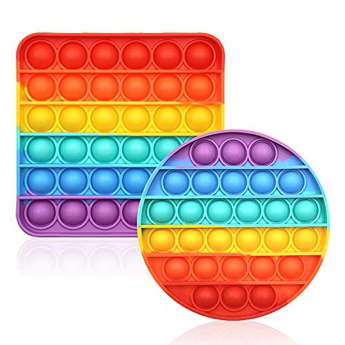 CENSUNG Rainbow Pop Bubble Fidget Sensory Toy Multicolor Push Popping Silicona Juego Juguete Ansiedad y Estrés Aliviador de Autismo Materiales de aprendizaje para niños y adultos (juego de 2)