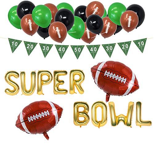 American Football Deko 2021 - XXL Set zur Superbowl Party mit 45 Teilen - Girlande, Ballons, Folienballons - grün, schwarz, braun