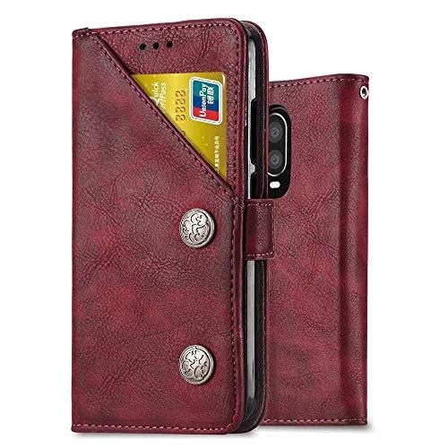 Funda Ferilinso para Xiaomi Redmi 7 PRO / Xiaomi Mi Play, funda de cuero con tapa de tarjeta de crédito ID multifunción (Retro rojo)