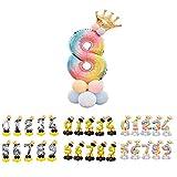 Unishop Cumpleaños Globos Foil Metálico Globos de Números Gigante Oro Plata Globos para Fiesta de Cumpleaños Aniversarios Globos Numeros para Cumpleaños Fiesta Decoración (Arco iris 8)