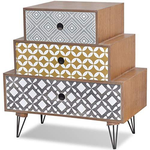 Festnight Table de Chevet en Bois avec 3 Tiroirs Brun Scandinave Design