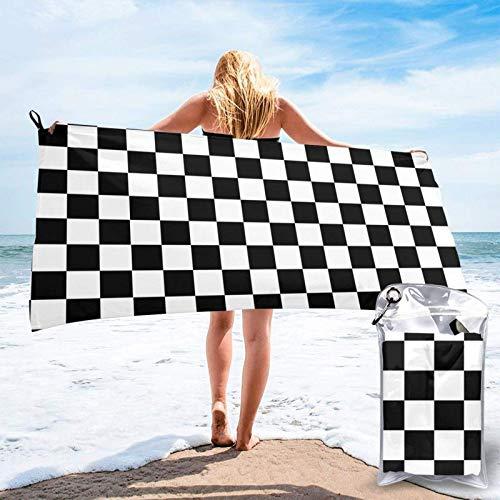 FLDONG Toalla de playa de secado rápido, toallas de baño con impresión de cuadros en blanco y negro, ultra absorbente, suave, compacta, ligera, adecuada para niños y adultos 81.5 x 163 cm