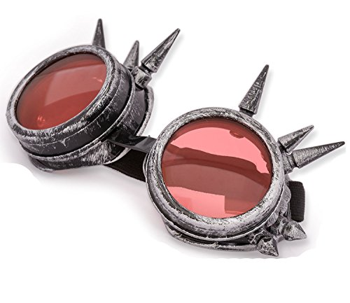 4sold (TM Steampunk Antique Copper Cyber Goggles Rave Goth Vintage Victorian Like Sunglasses All Pictures (Gray Studs)