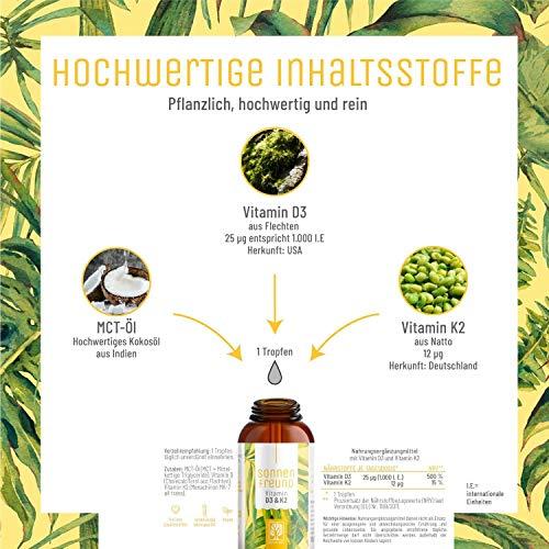 Vitamin D3 K2 Tropfen hochdosiert und vegan - 100% pflanzlich (ohne tierisches Lanolin) - 1000 IE Vitamin D vegan & Vitamin K2 - Sonnenfreund D3K2 Öl geprüft & hergestellt in Deutschland - 3