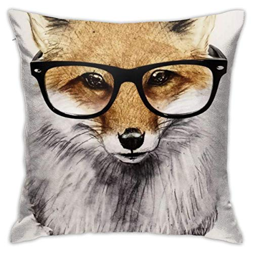 wteqofy Throw Pillow Covers Modern Decorative Throw Pillow Case Fox Art with Glasses Pillow Covers Cushion Case for Room Bedroom Room Sofa Chair Car,18 X 18 Inch
