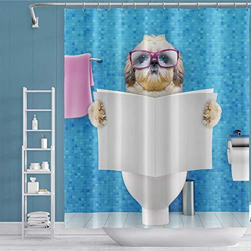 OERJU Duschvorhang, 152,4 x 182,9 cm, mit lustigem Tiermotiv, Ozeanblau, aus Polyester, wasserdicht, maschinenwaschbar, Zubehör-Set