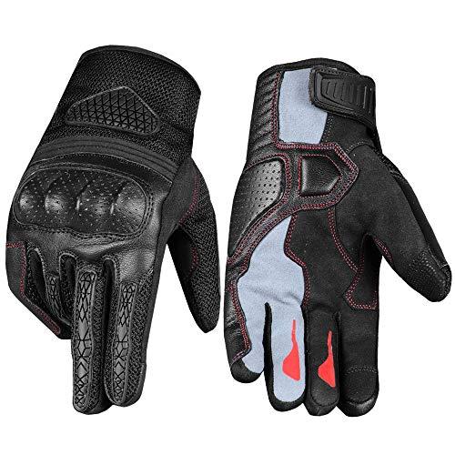 Men's Touchscreen Motorcycle Goatskin Leather Gloves for Biker Cruiser Street Riding L